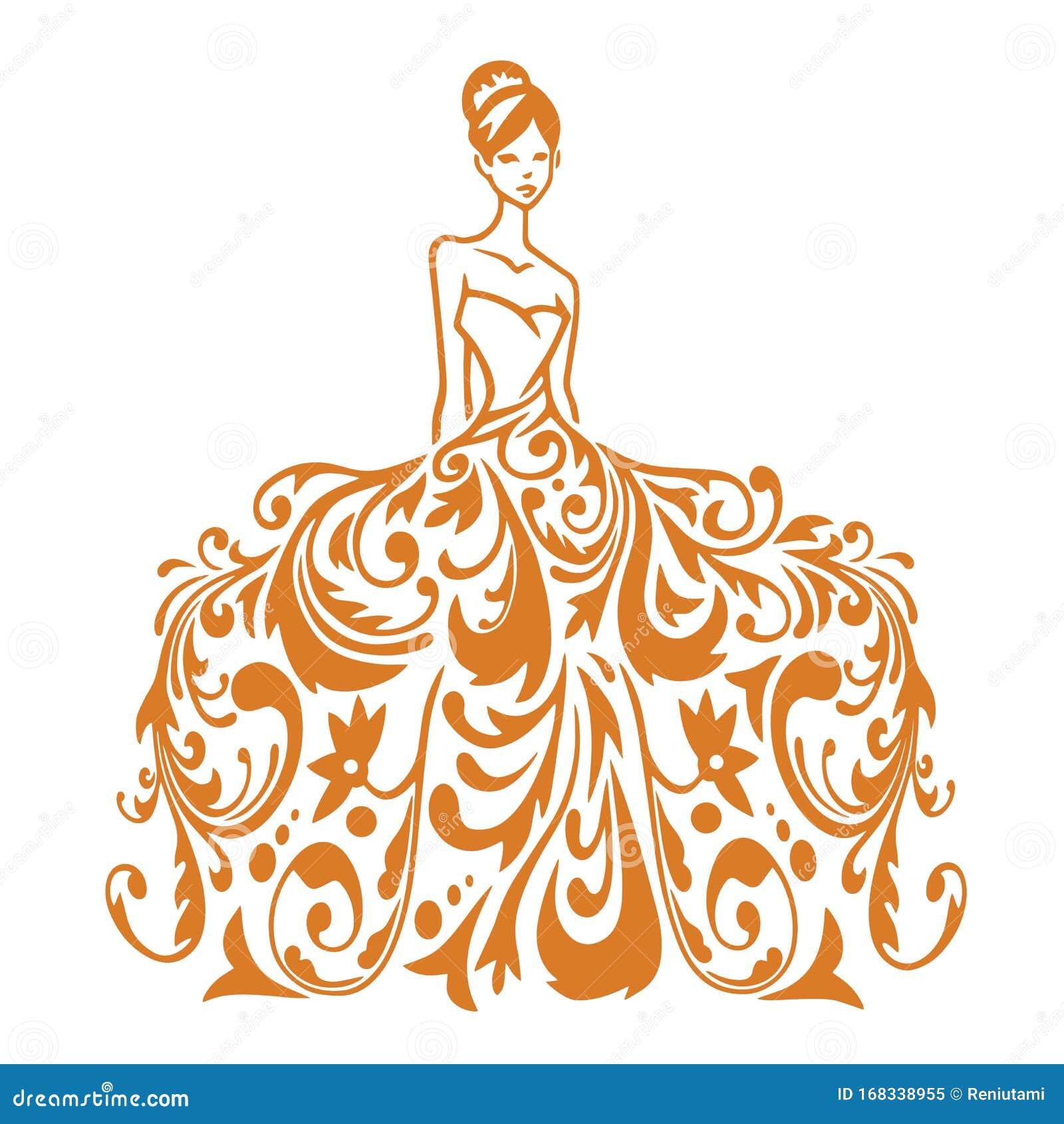 Beauty Bridal Wear Boutique Logo Wedding Gown Dress Fashion Logo Design Vector Illustration Stock Vector Illustration Of Design Bridal 168338955