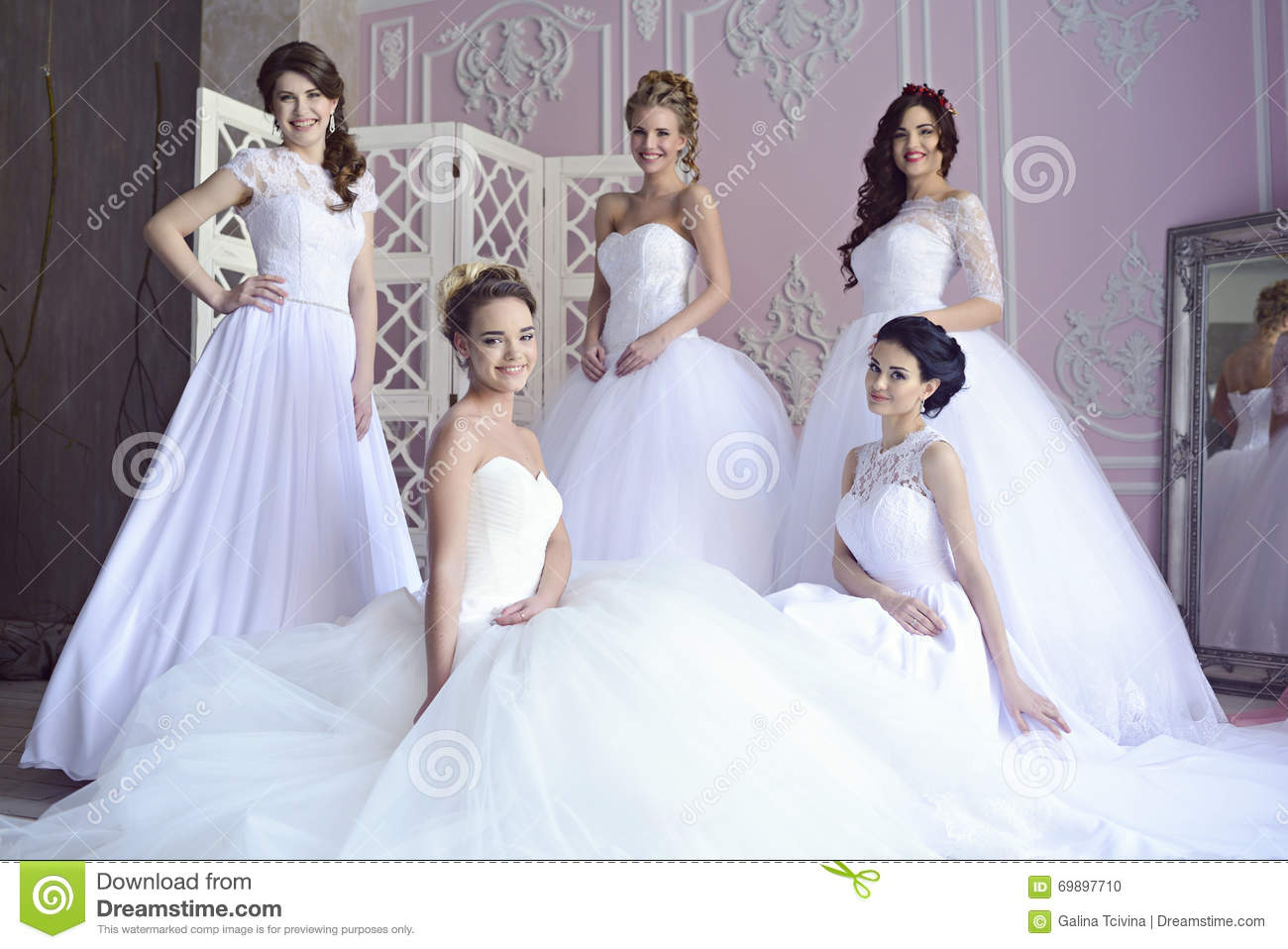 Beauty brides in bridal gowns indoors stock photo image for Wedding dresses house of brides