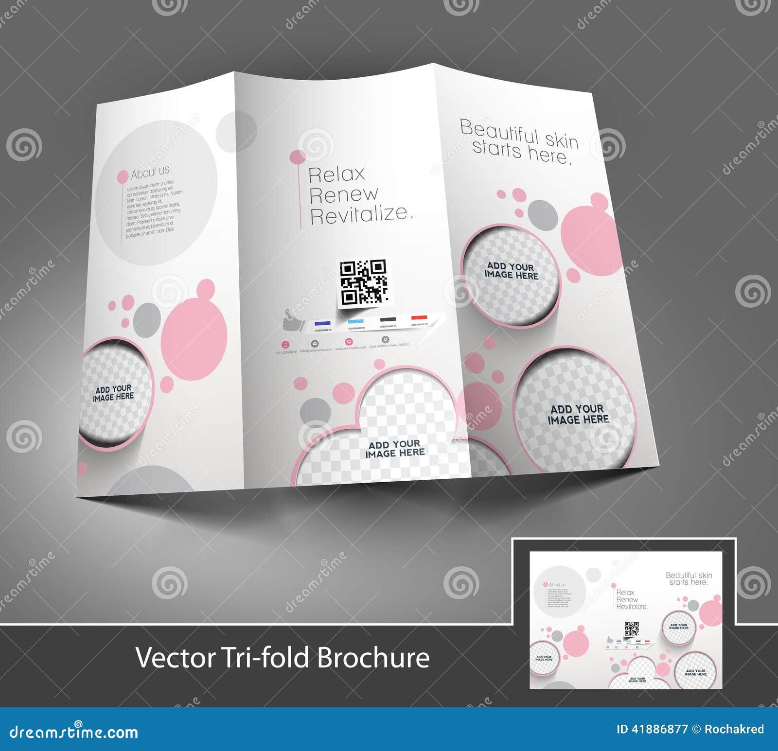 beauty care salon tri fold mock up brochure design