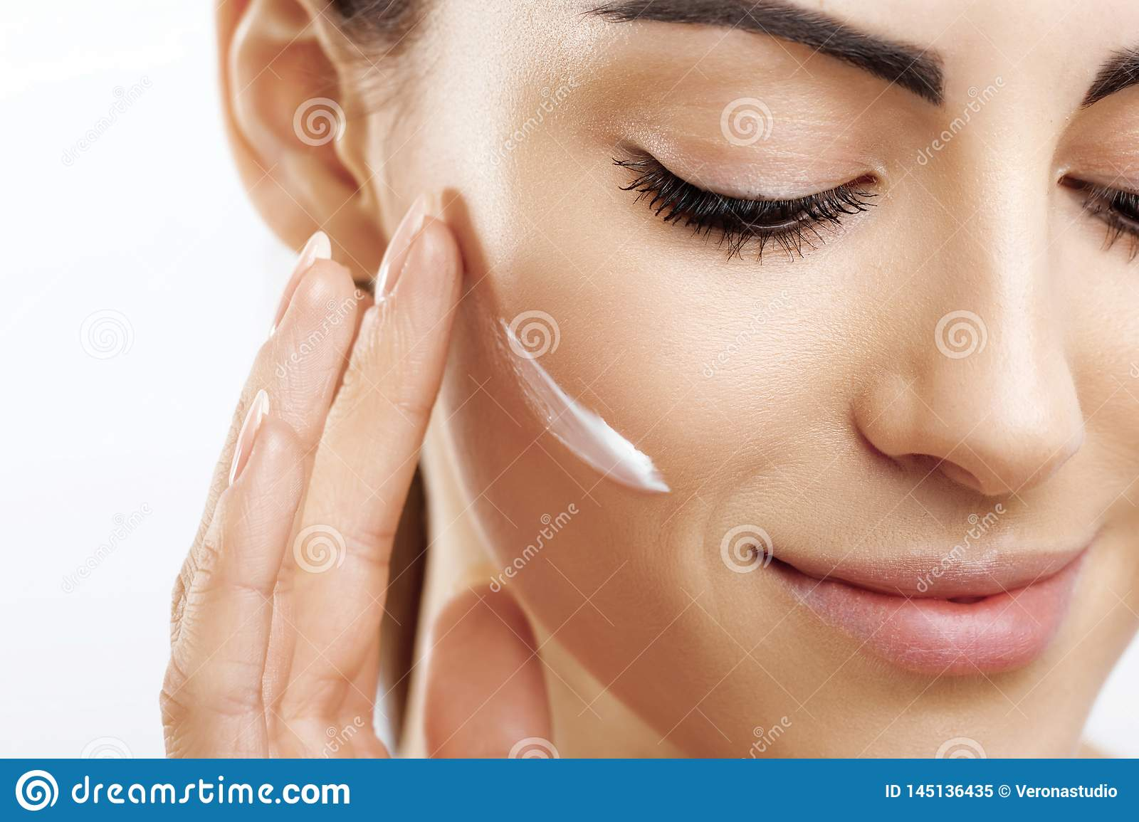 Beauty Closeup Happy Young Woman Apply Cream To Her Face Skincare And Cosmetics Concept Cosmetics Woman Face Skin Care Natural Stock Image Image Of Female Beauty 145136435