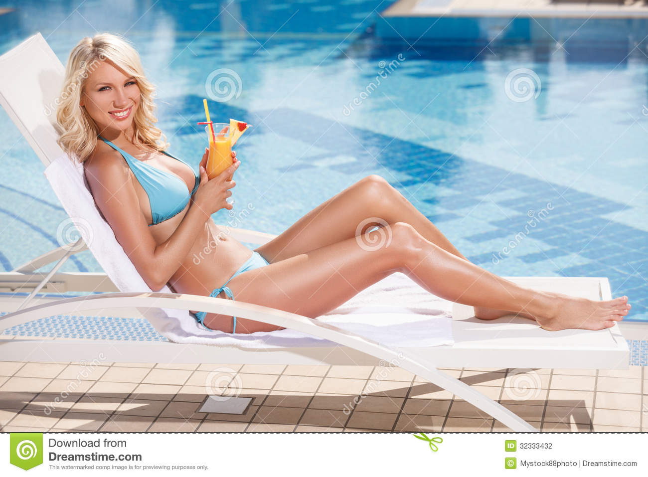 Beauty With Cocktail Attractive Young Women In Bikini Lying Stock Image