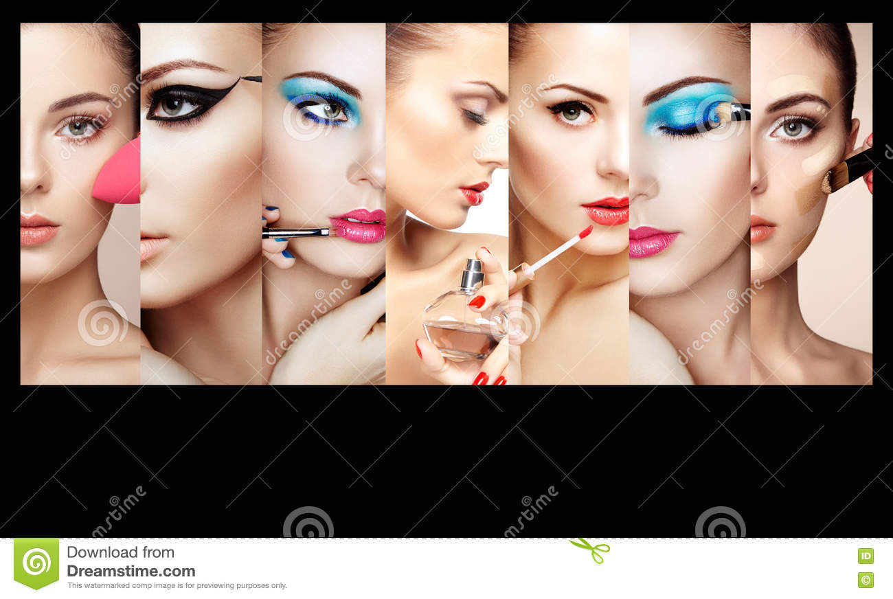 Beauty Collage. Faces Of Women Stock Photo