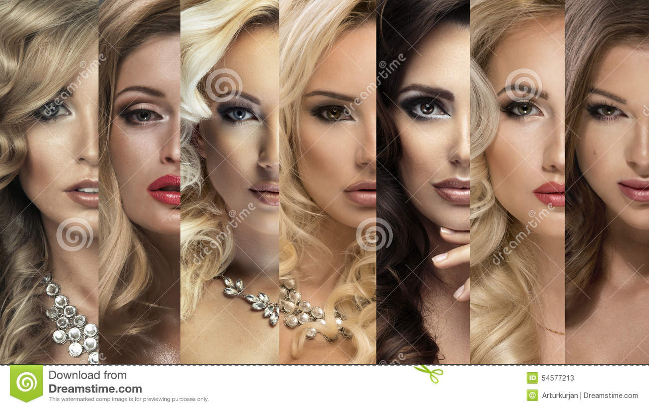 Beauty Collage. Set of Women s Faces