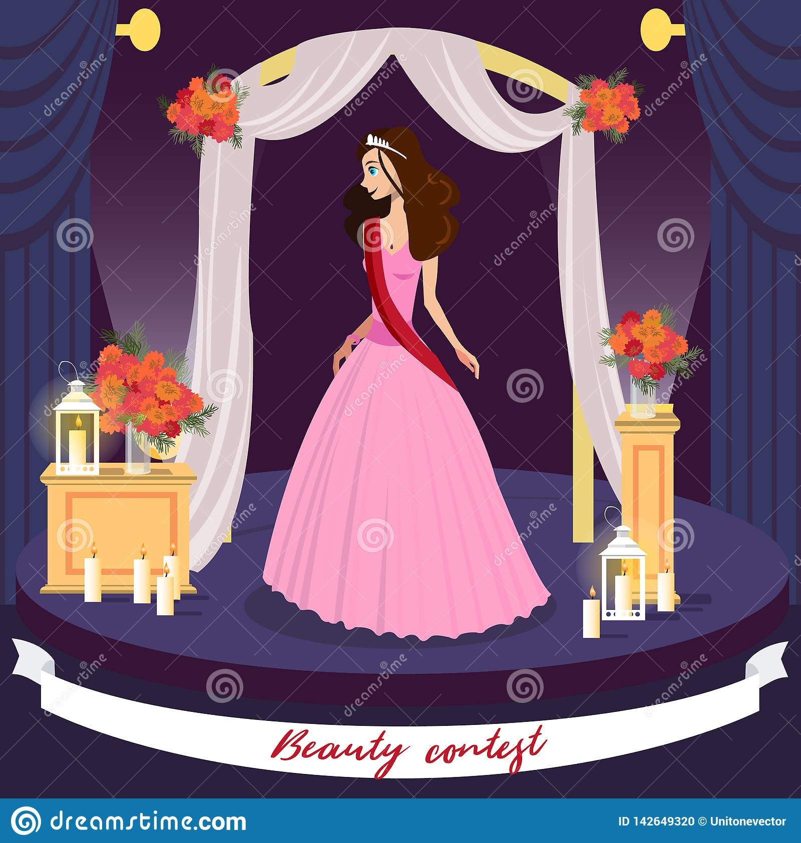 Beauty Contest Winner Vector Greeting Card Concept