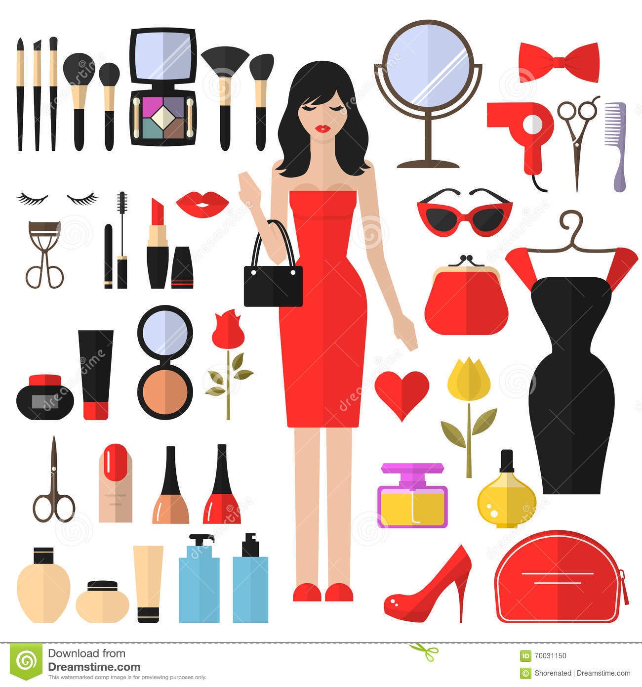 Cosmetic And Makeup Vector Flat Icons Cartoon Vector 70030537