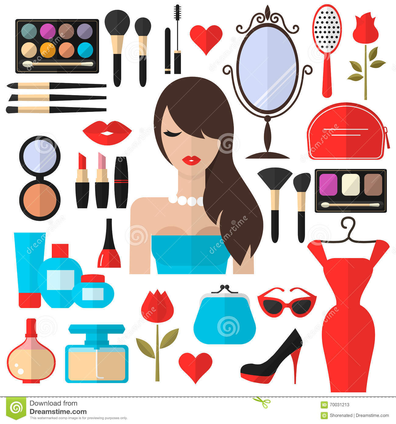 Beauty, Cosmetic And Makeup Vector Flat Icons Stock Vector