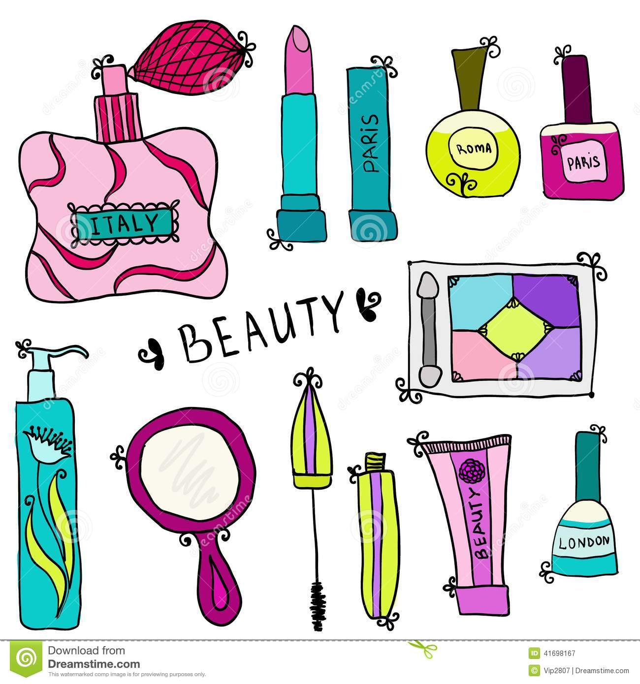 Beauty and cosmetics icons doodles