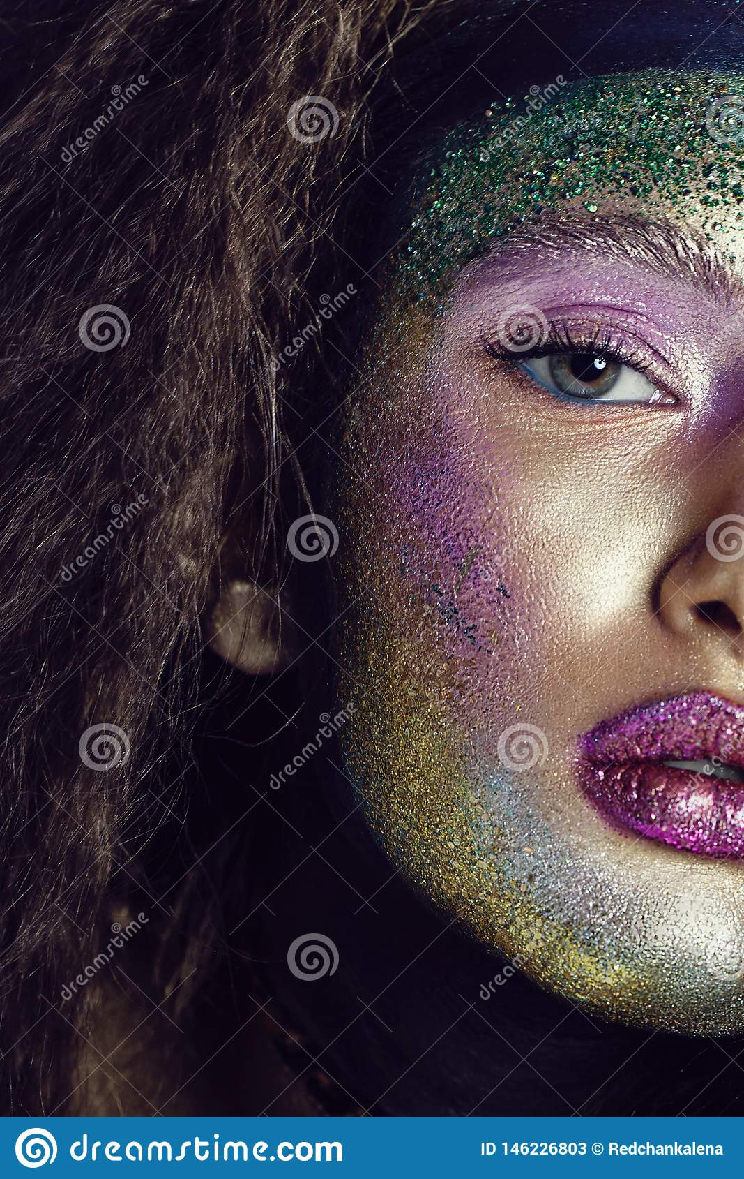Beauty Cosmetics And Makeup Macro Shot Of Beautiful Woman S Face With Perfect Art Makeup With Glitter Stock Image Image Of Eyes Bright 146226803