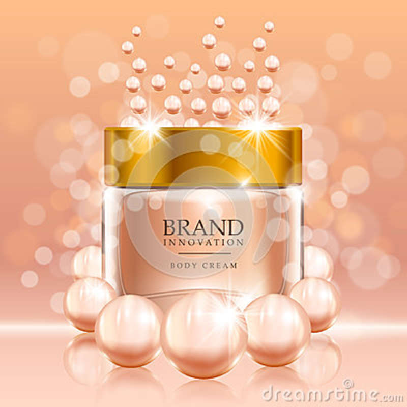 Beauty Cream With Pearls And Bubbles On Peach Background