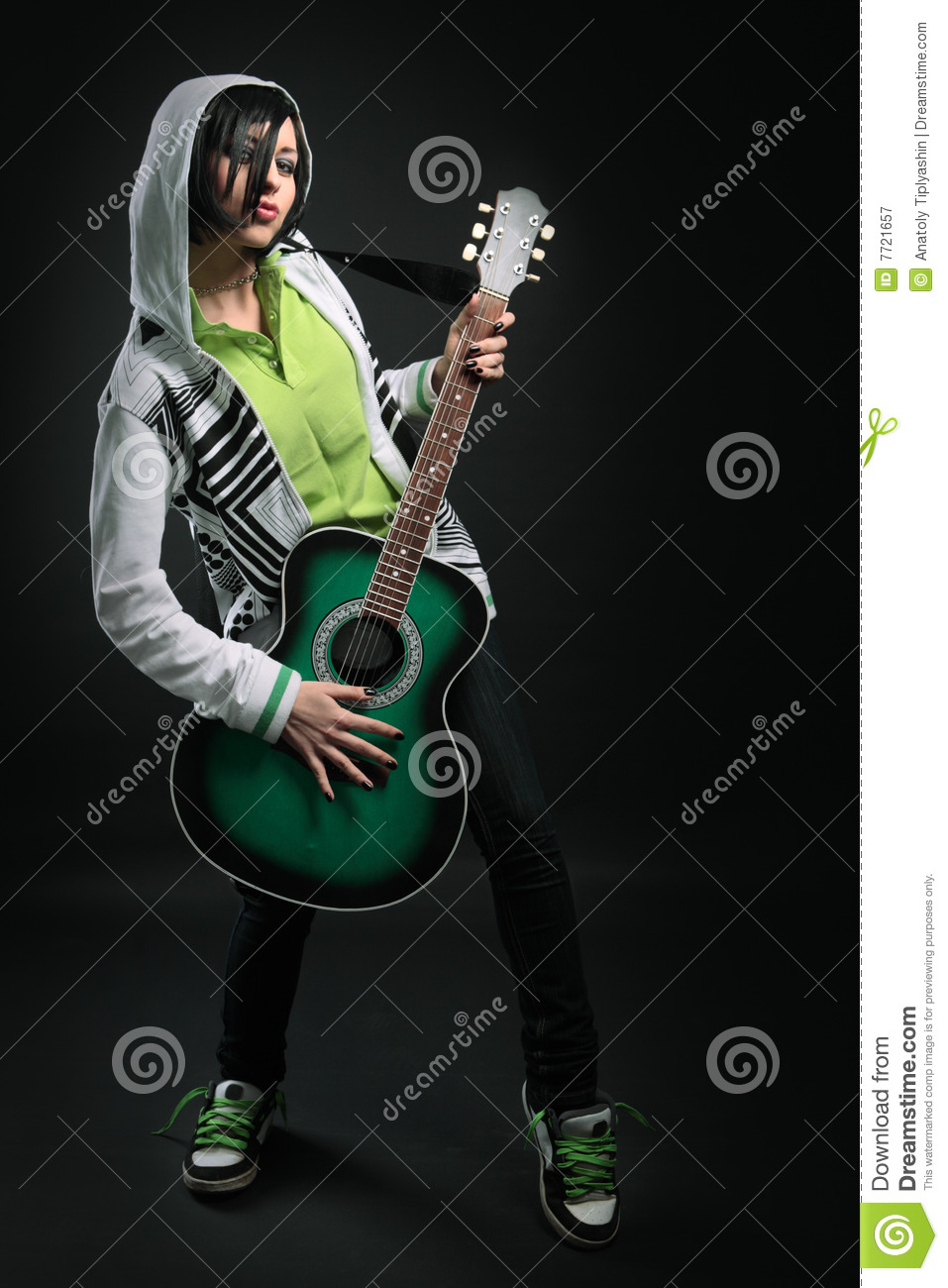 Beauty Emo Girl With Guitar Stock Image - Image of mouth