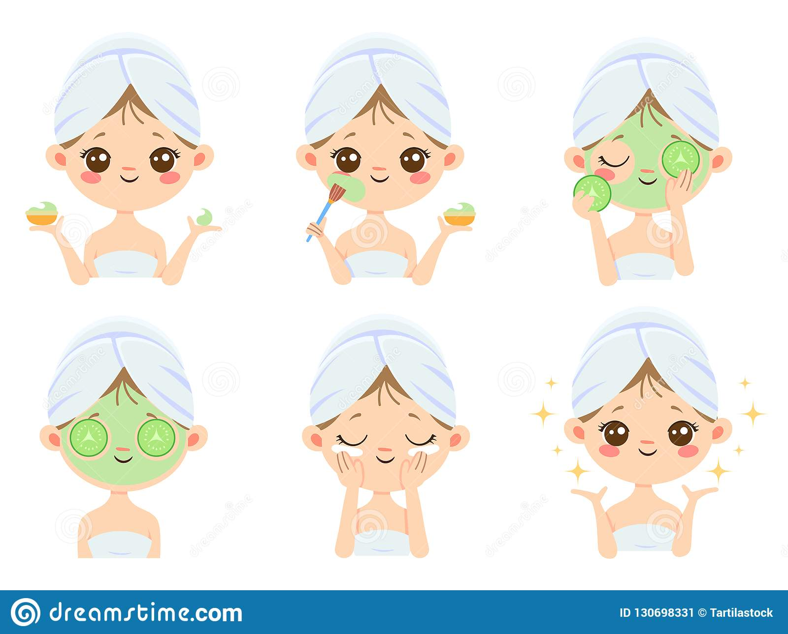 Beauty face mask. Woman skin care, cleaning and face brushing. Acne treatment masks vector cartoon illustration