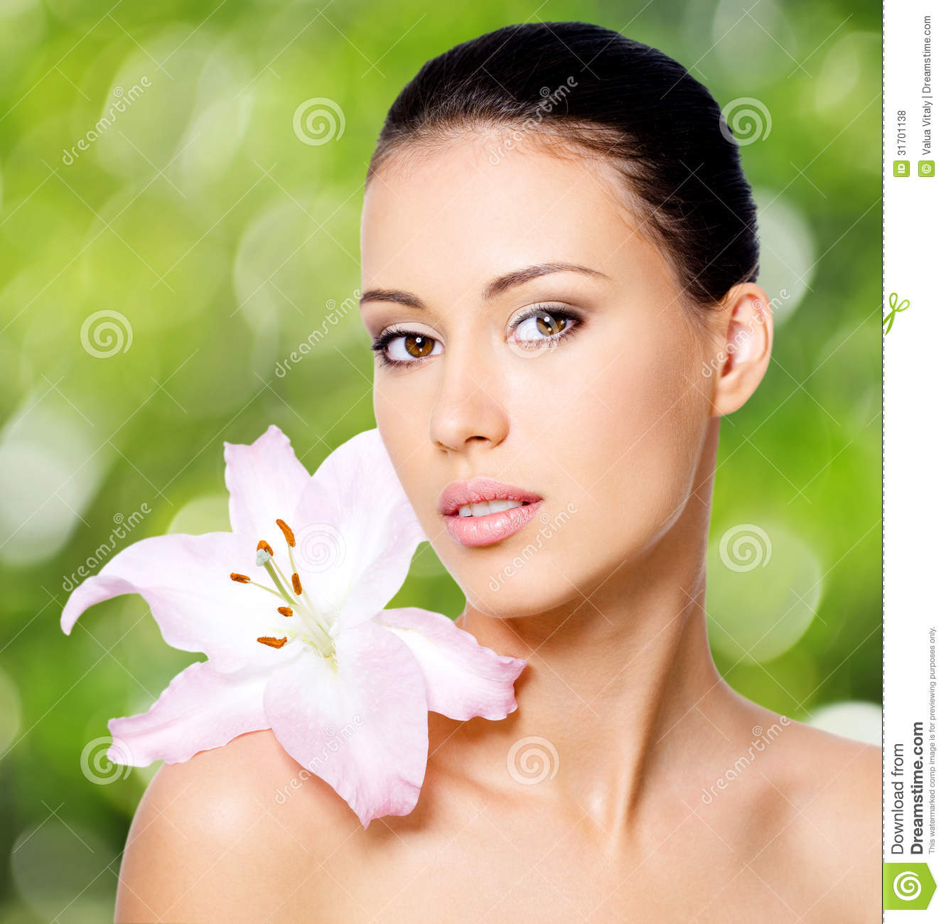 Beauty Face Of Young Beautiful Woman With Flower Stock Photo Image