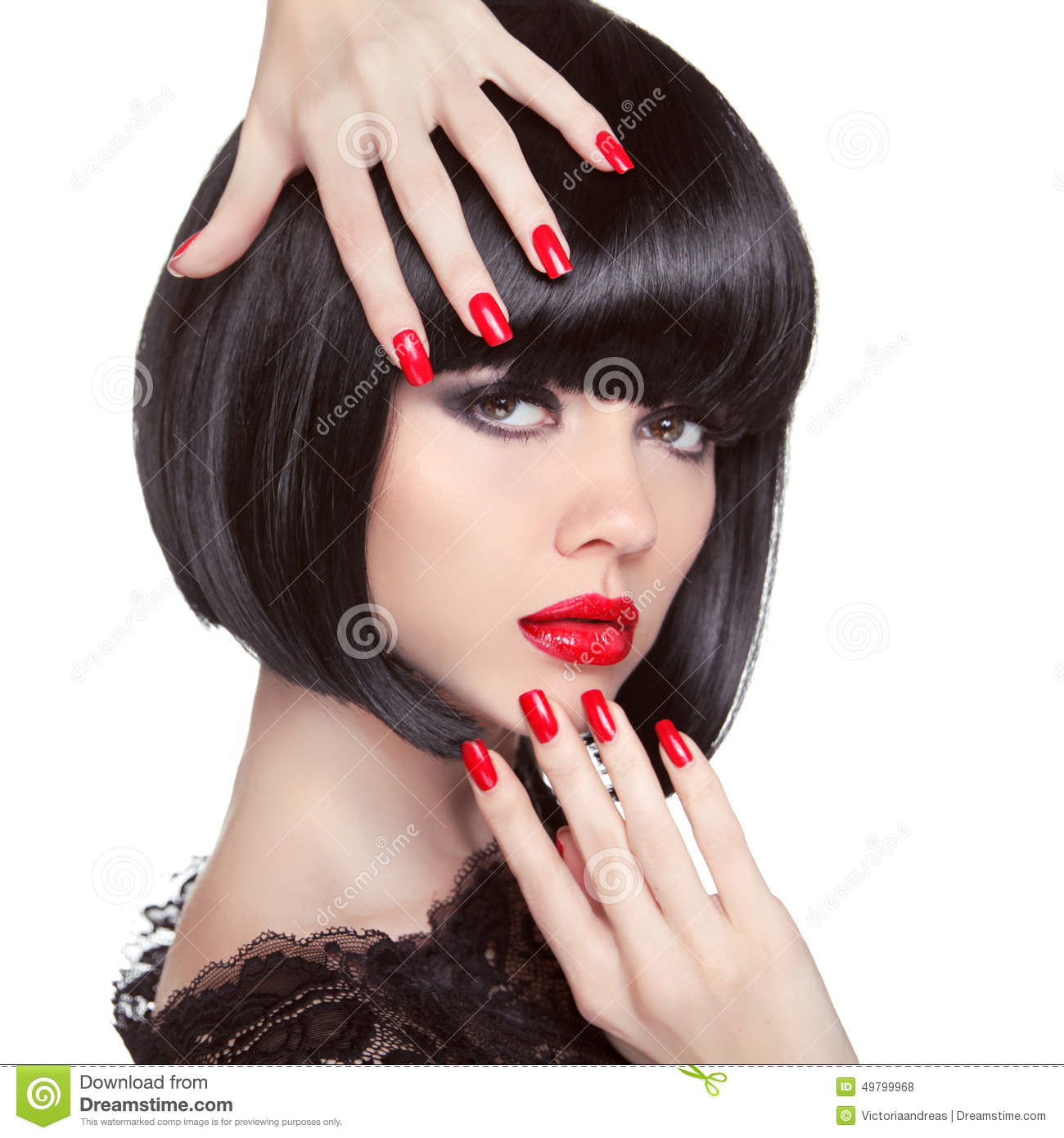Beauty Fashion Brunette Model Portrait. Manicured Nails