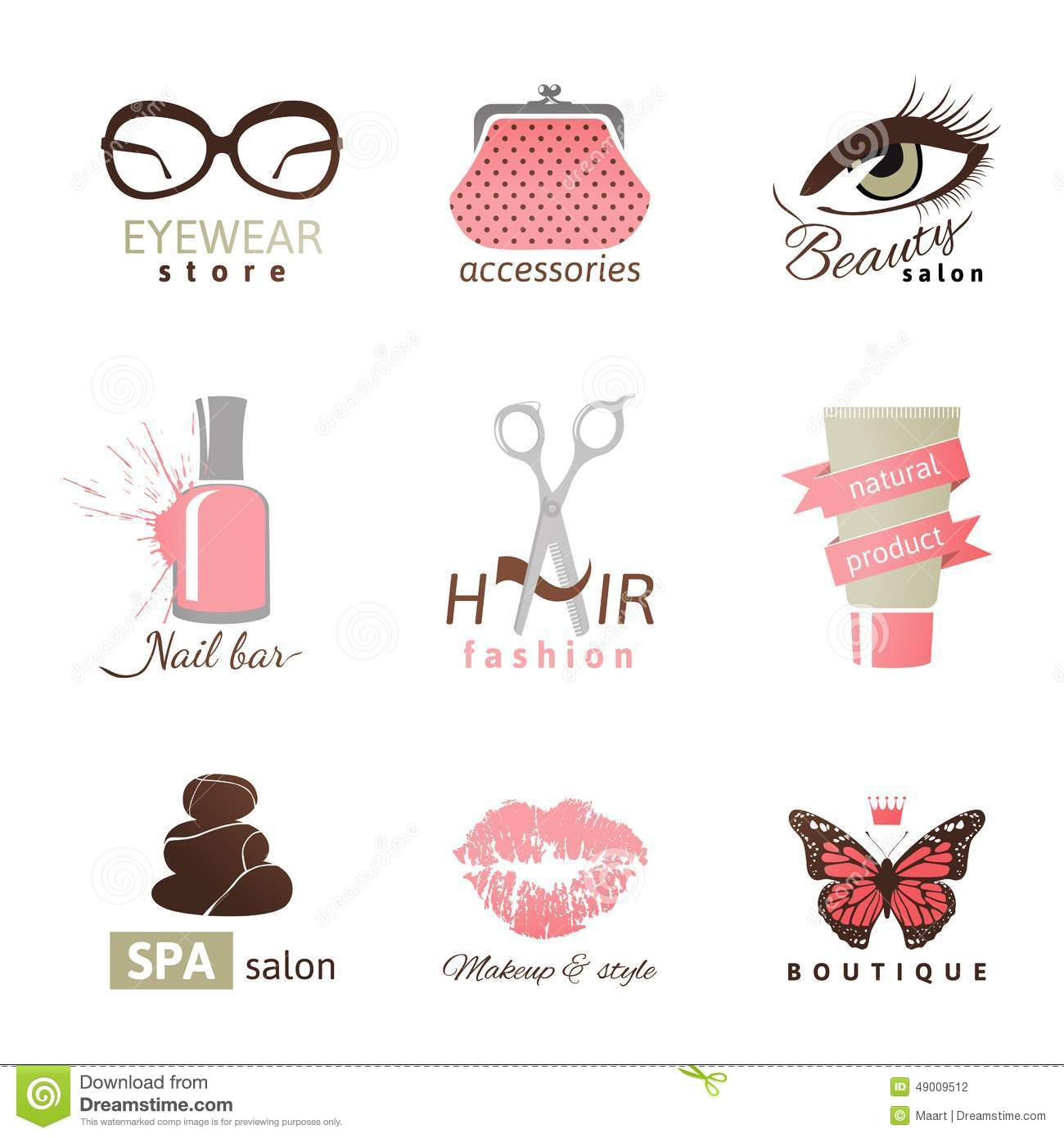 Beauty And Fashion Logo Templates Stock Vector Image