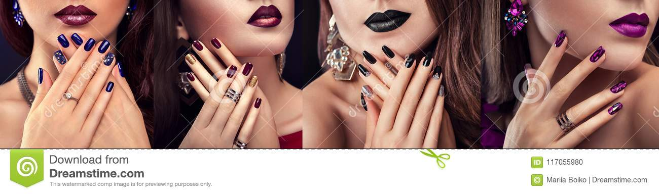 Beauty fashion model with different make-up and nail design wearing jewelry. Set of manicure. Four stylish looks