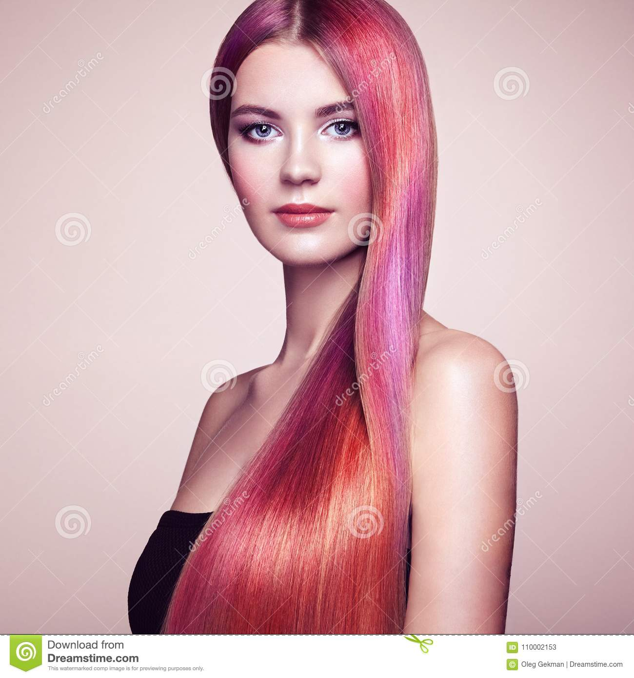 Beauty Fashion Model Girl With Colorful Dyed Hair Stock Image ...
