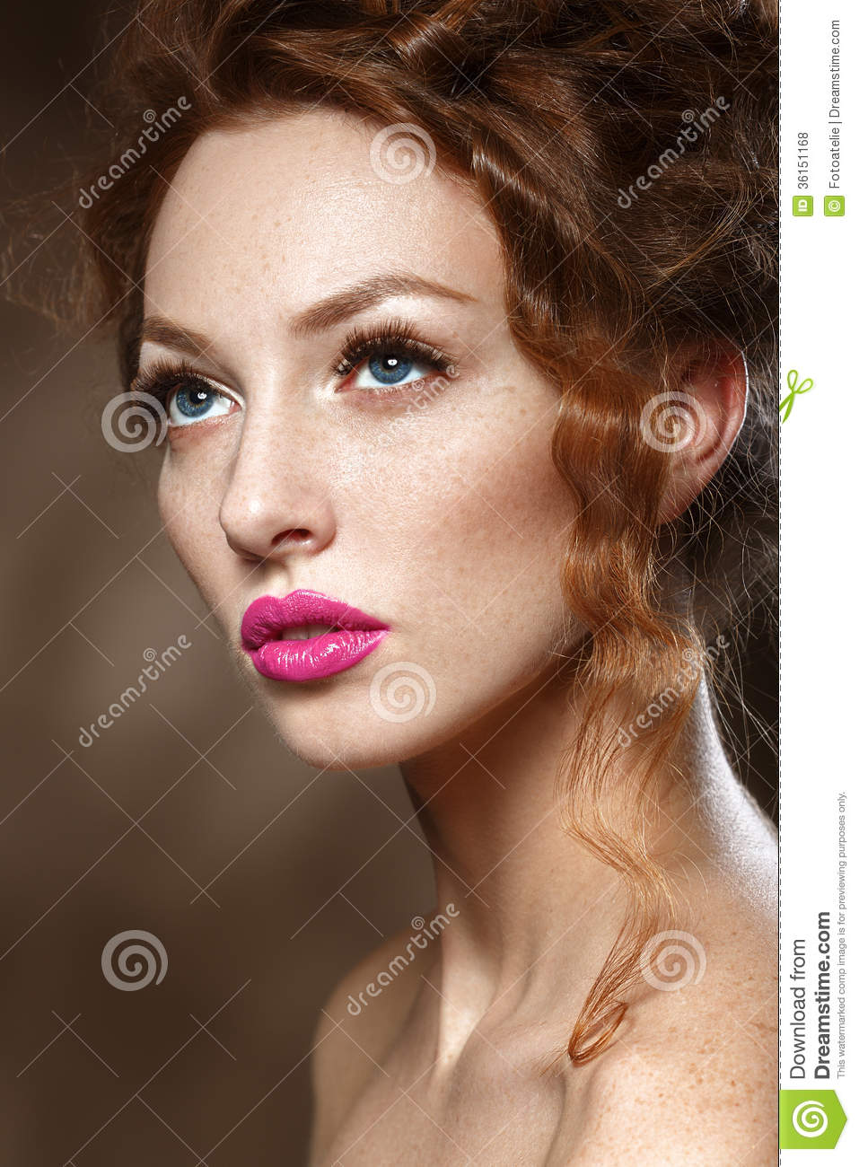 Beauty Fashion Model Girl With Curly Red Hair, Long