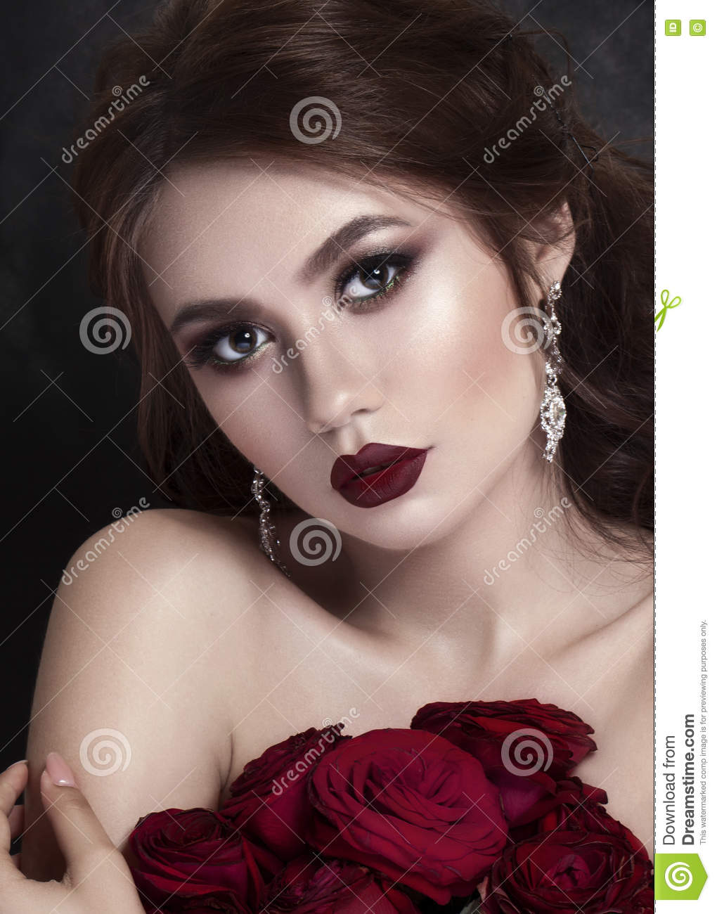 Beauty Fashion Model Girl Portrait With Red Roses Lips