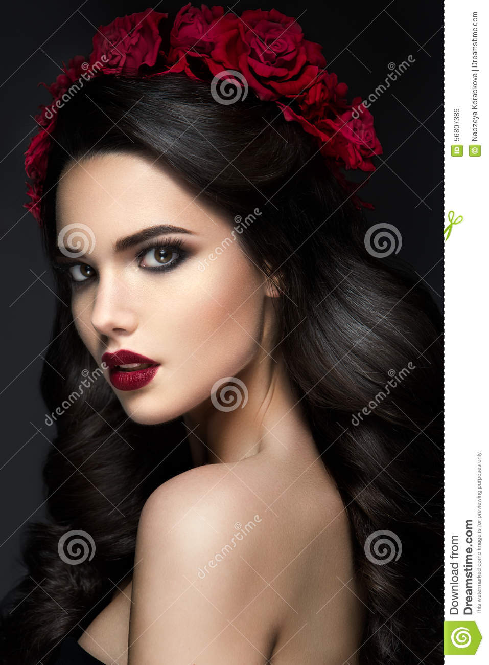 Beauty Fashion Model Girl Portrait With Roses Stock Photo ...