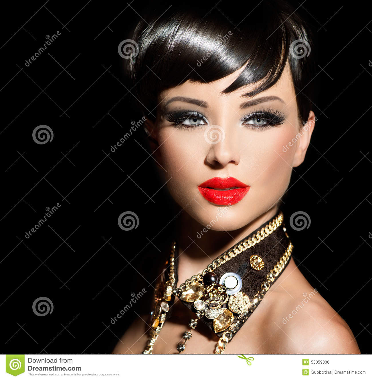 Beauty Fashion Model Girl With Short Hair Stock Photo