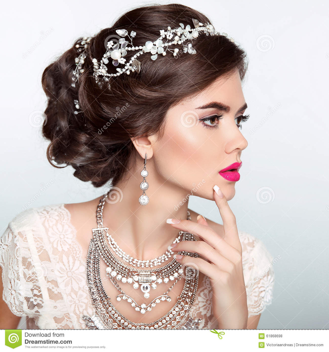 Beauty Fashion Model Girl With Wedding Elegant Hairstyle