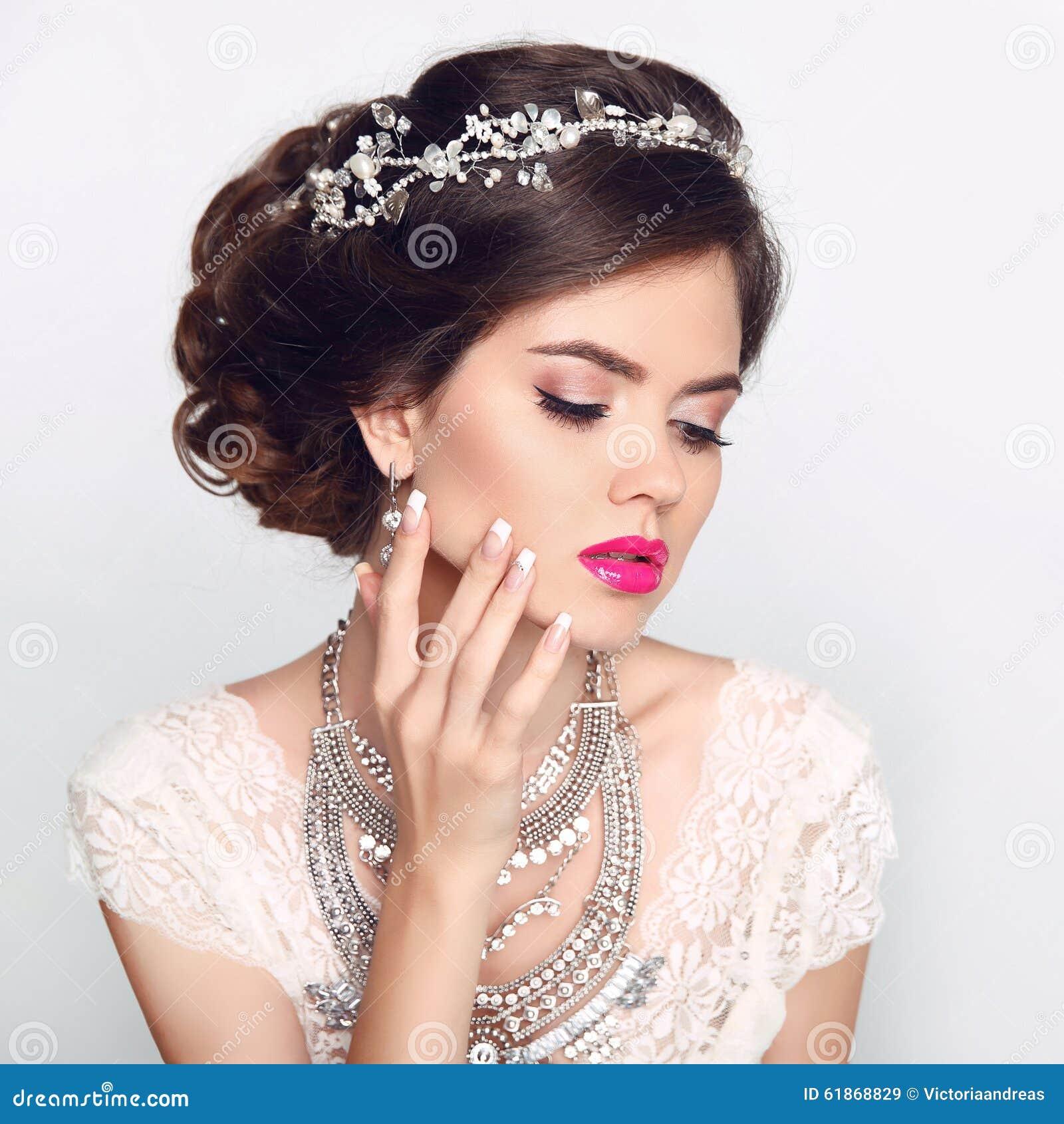 Beauty Fashion Model Girl With Wedding Elegant Hairstyle