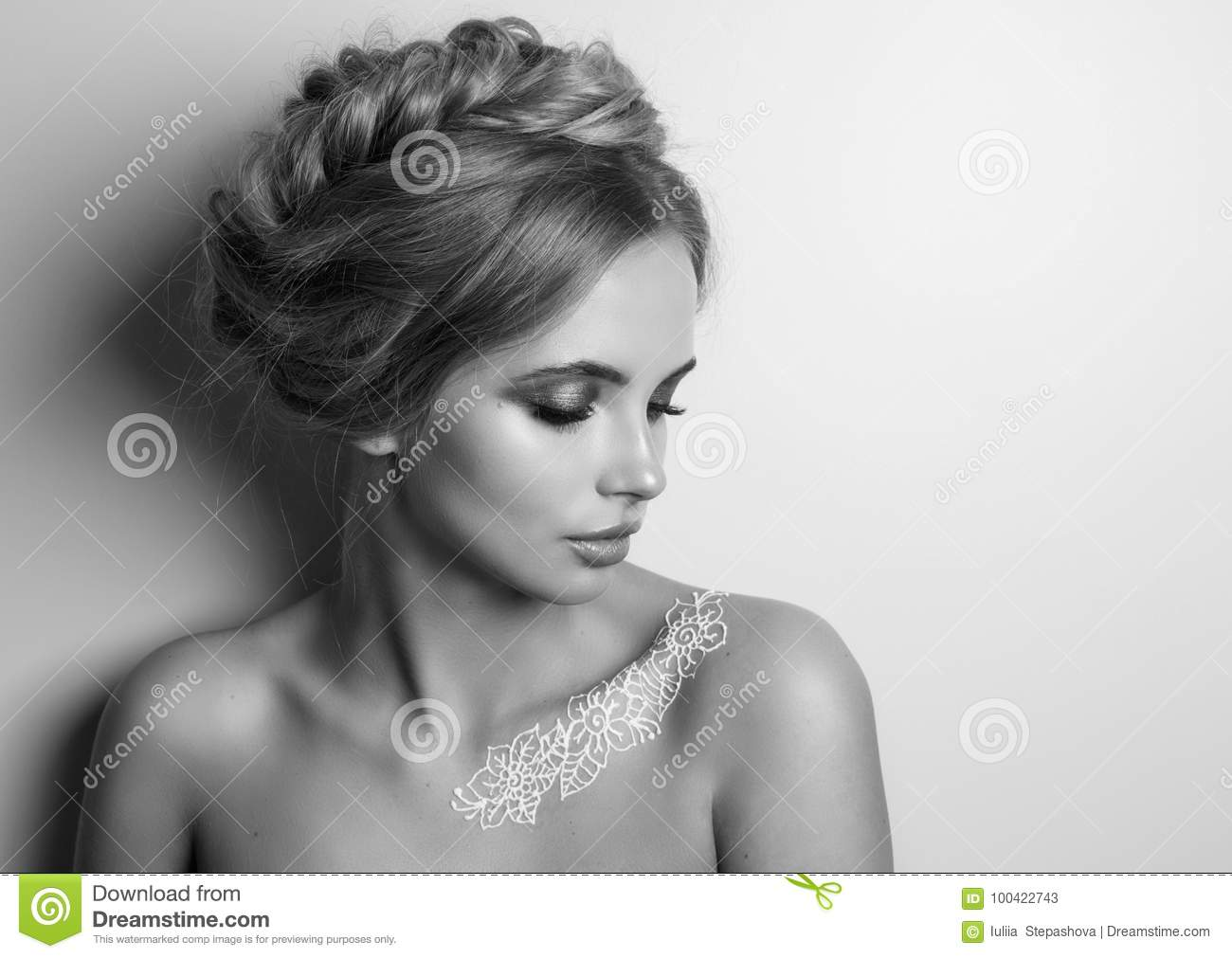 Beauty Fashion Model Woman , portrait, hairstyle with braids. Mehndi , white henna tattoo on shoulders.