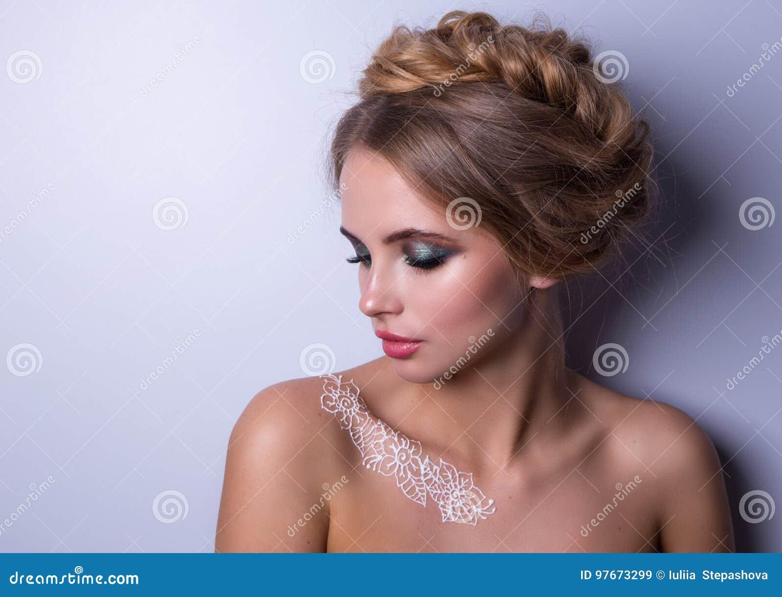 Beauty Fashion Model Woman , Portrait, Hairstyle With Braids. Mehndi , White Henna Tattoo On ...