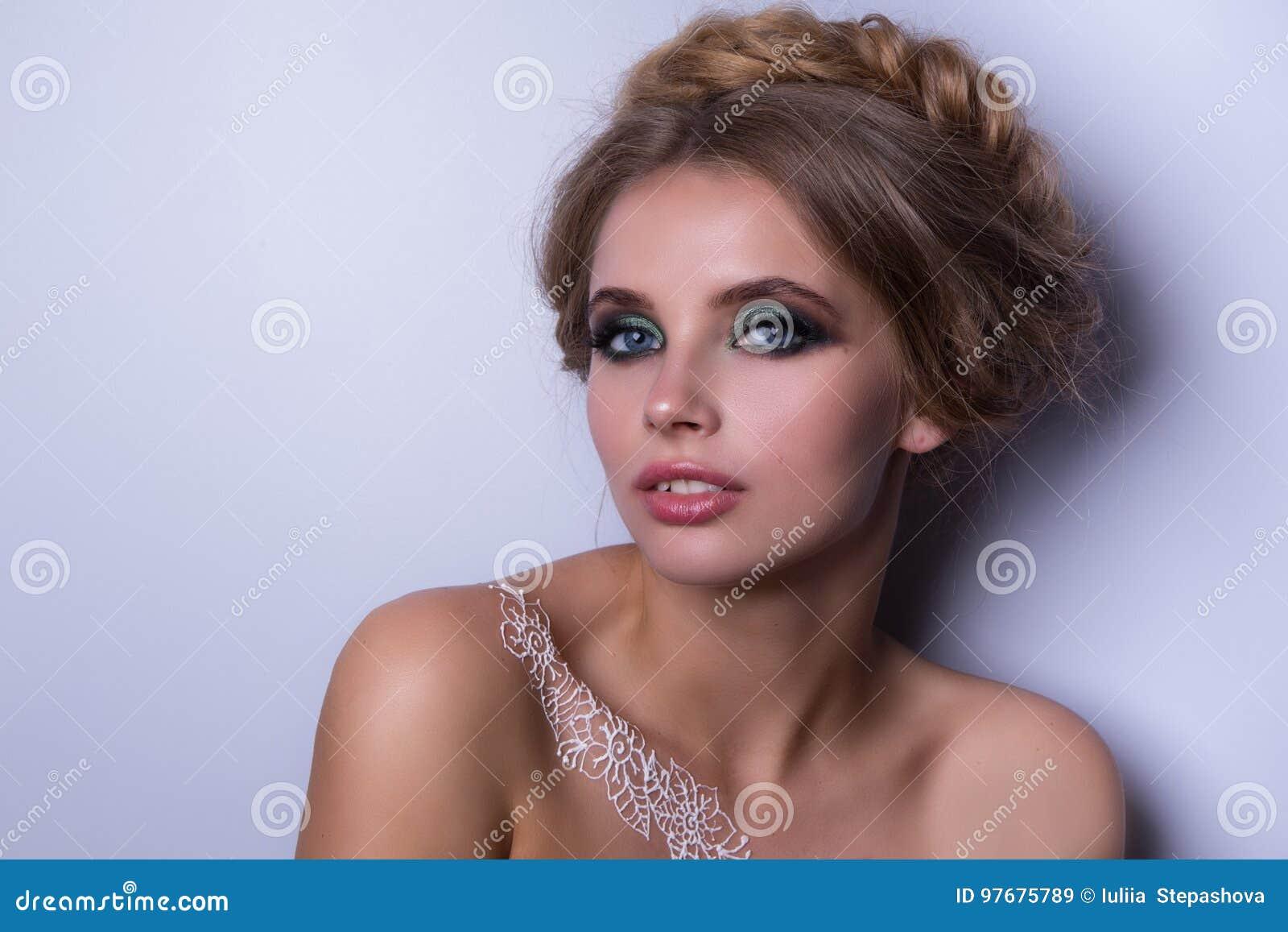 Beauty Fashion Model Woman Portrait Hairstyle With Braids Mehndi