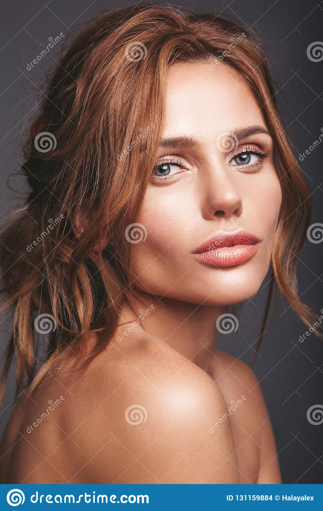 Young blond woman model with natural makeup