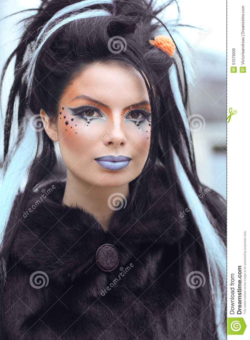 Beauty Fashion Punk Teen Girl Portrait With Art Makeup And Rock Stock Photo - Image Of Blue ...