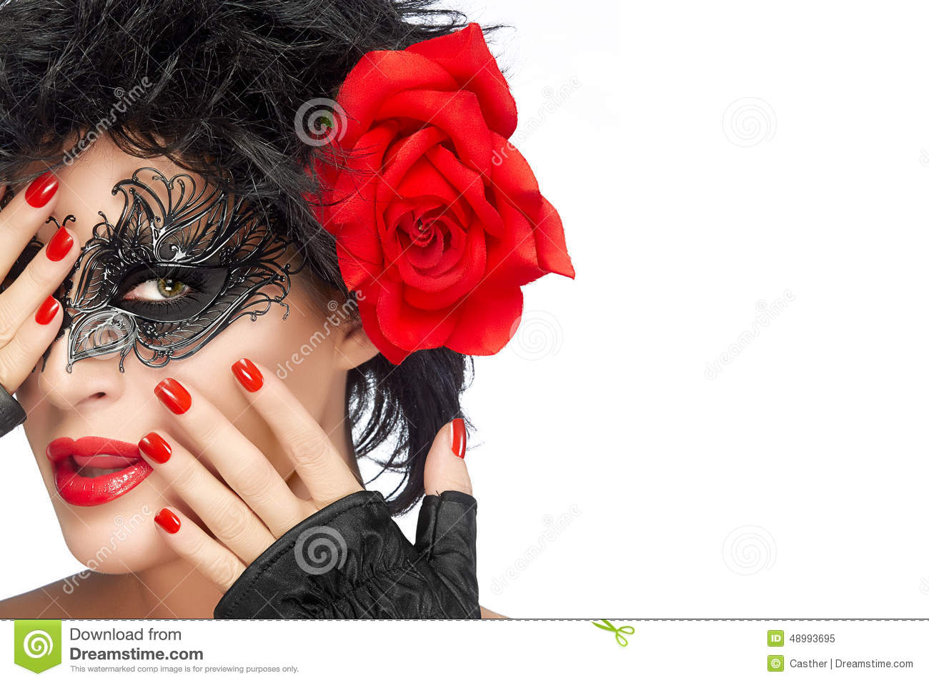 Beauty Fashion Woman With Elegant Mask Red Lips And