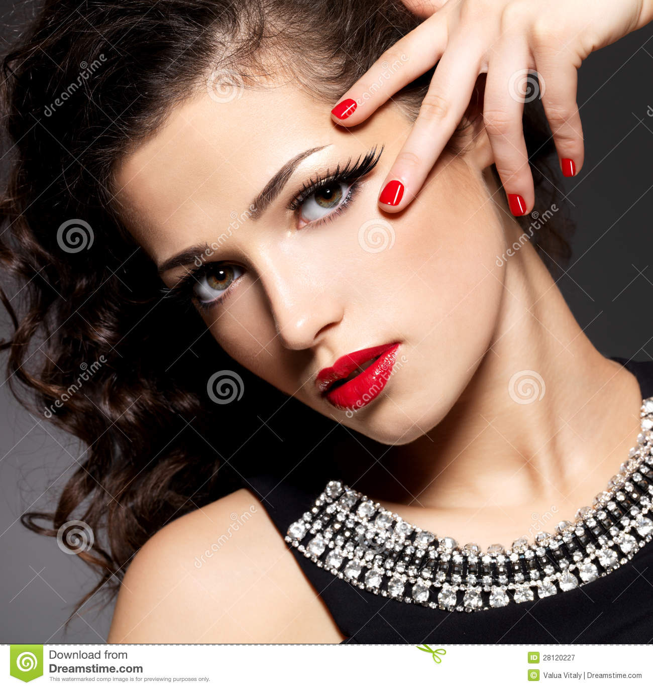 Beauty Fashion Woman With Red Nails And Makeup Stock Image ...