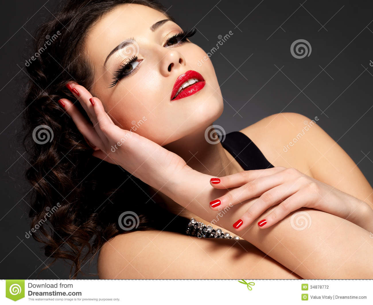 Beauty Fashion Woman With Red Nails And Makeup Stock
