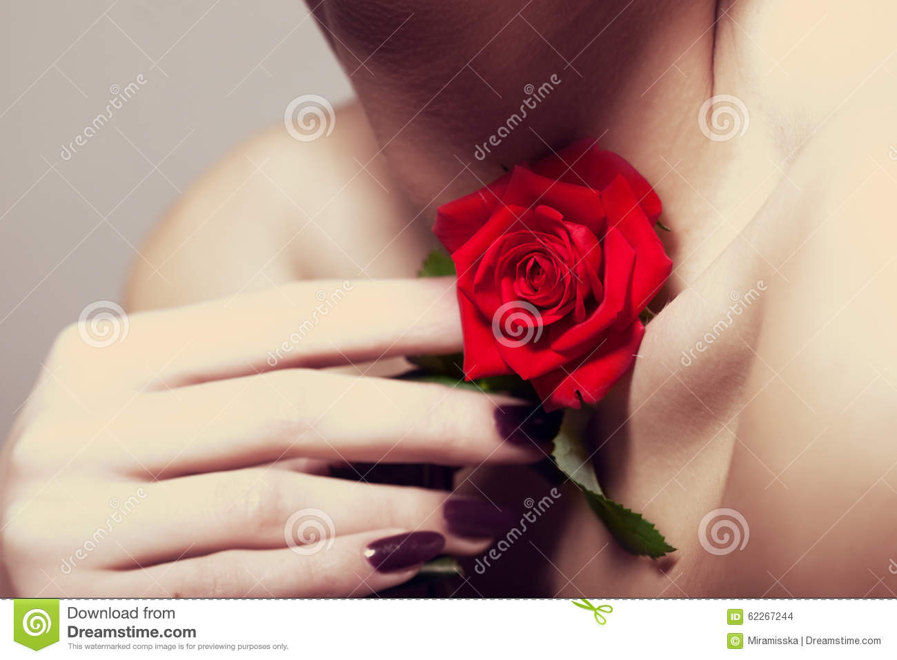 Beauty And Fashion. Women's Neck With A Jewelery Of Roses