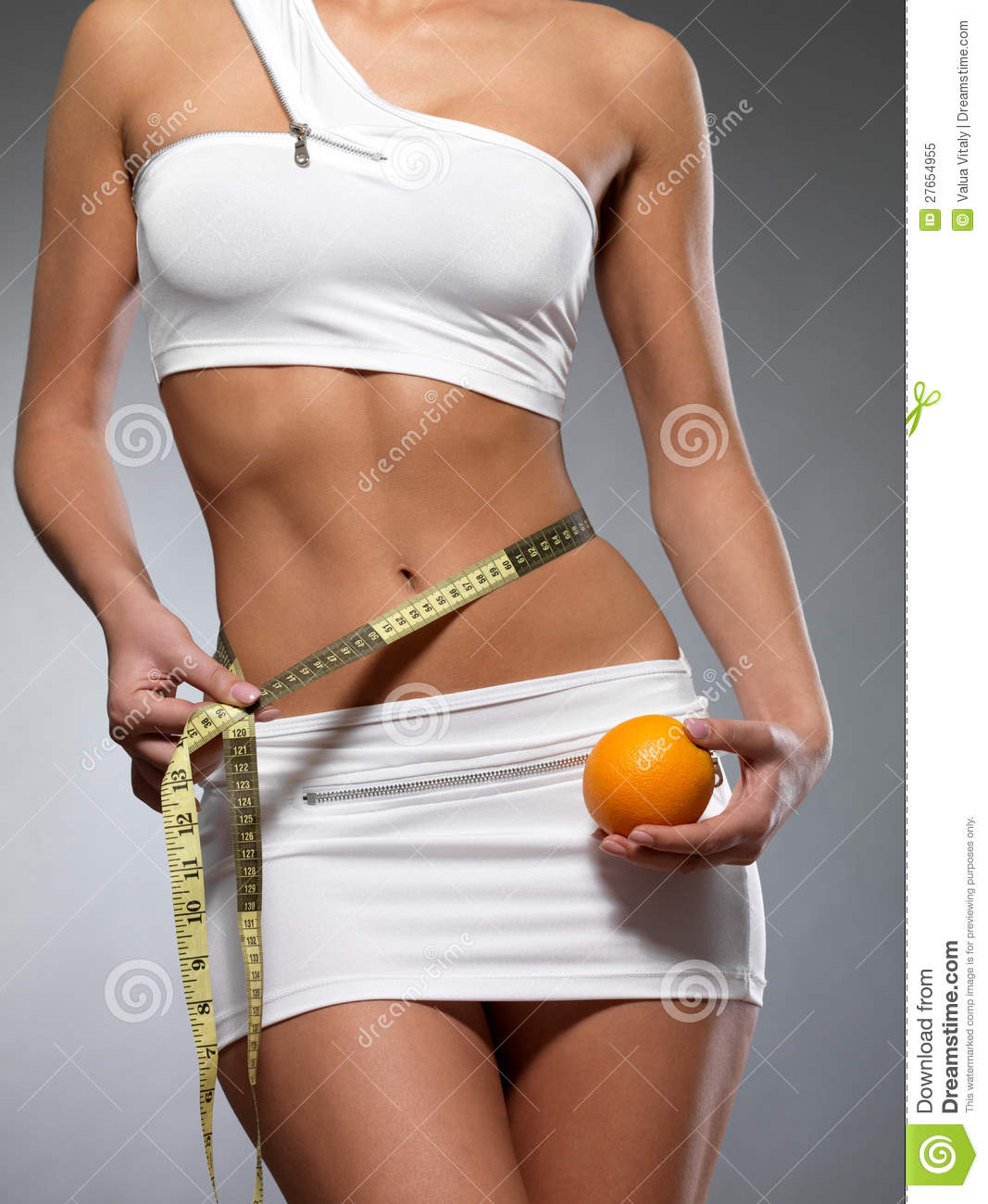 beauty female body with measuring tape and orange royalty free stock photo image 27654955. Black Bedroom Furniture Sets. Home Design Ideas