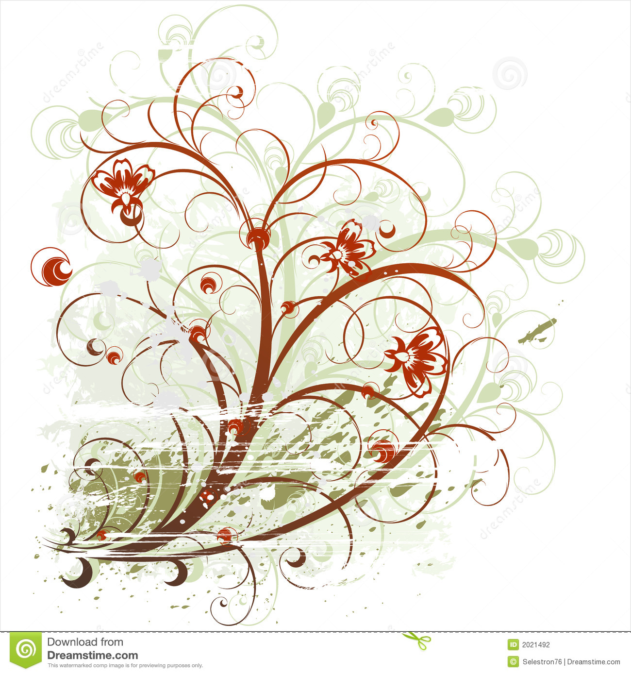 Beauty Flowers On Grunge Background Stock Vector ...