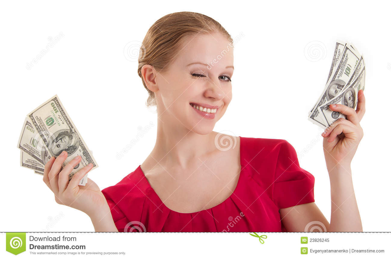 Beauty Funny Girl Winks, Holds The Money, Stock Image ...