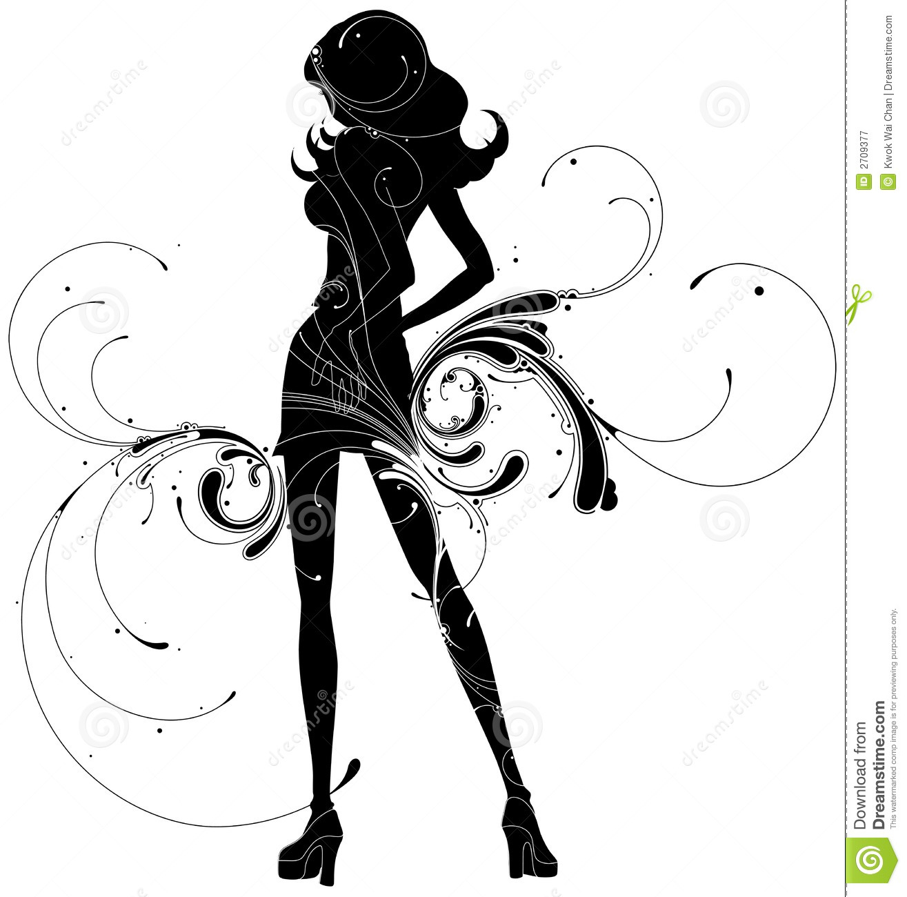 Element for design, vector illustration.Silhouette of girl with ...