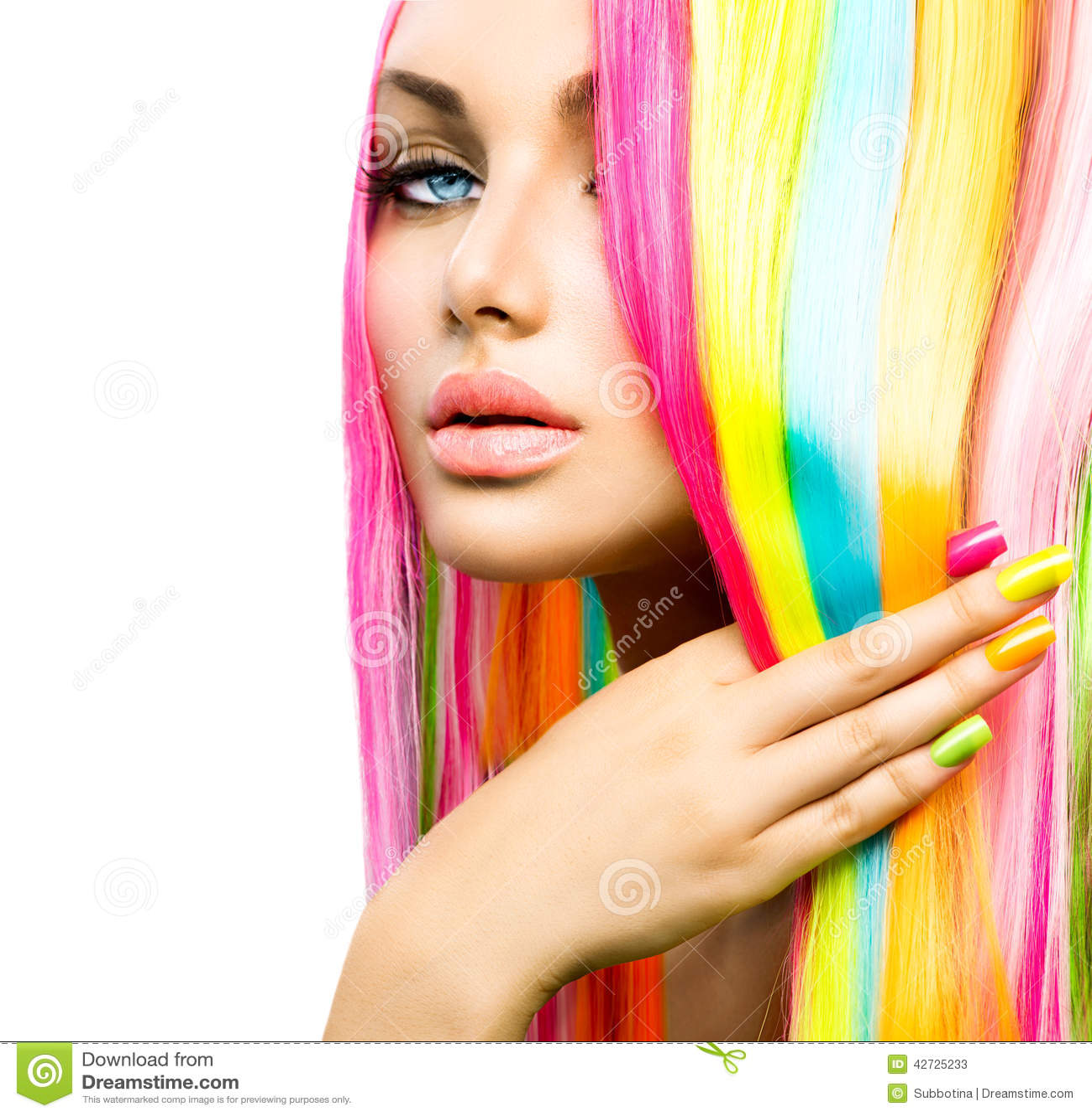 Beauty Girl With Colorful Hair And Nail Polish Stock Image - Image 42725233