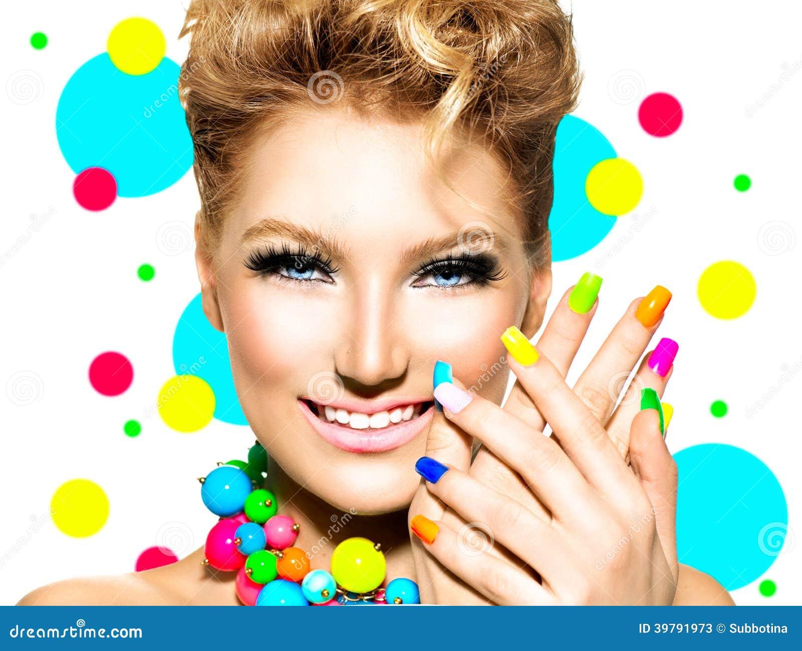 Beauty Girl with Colorful Makeup, Nail polish