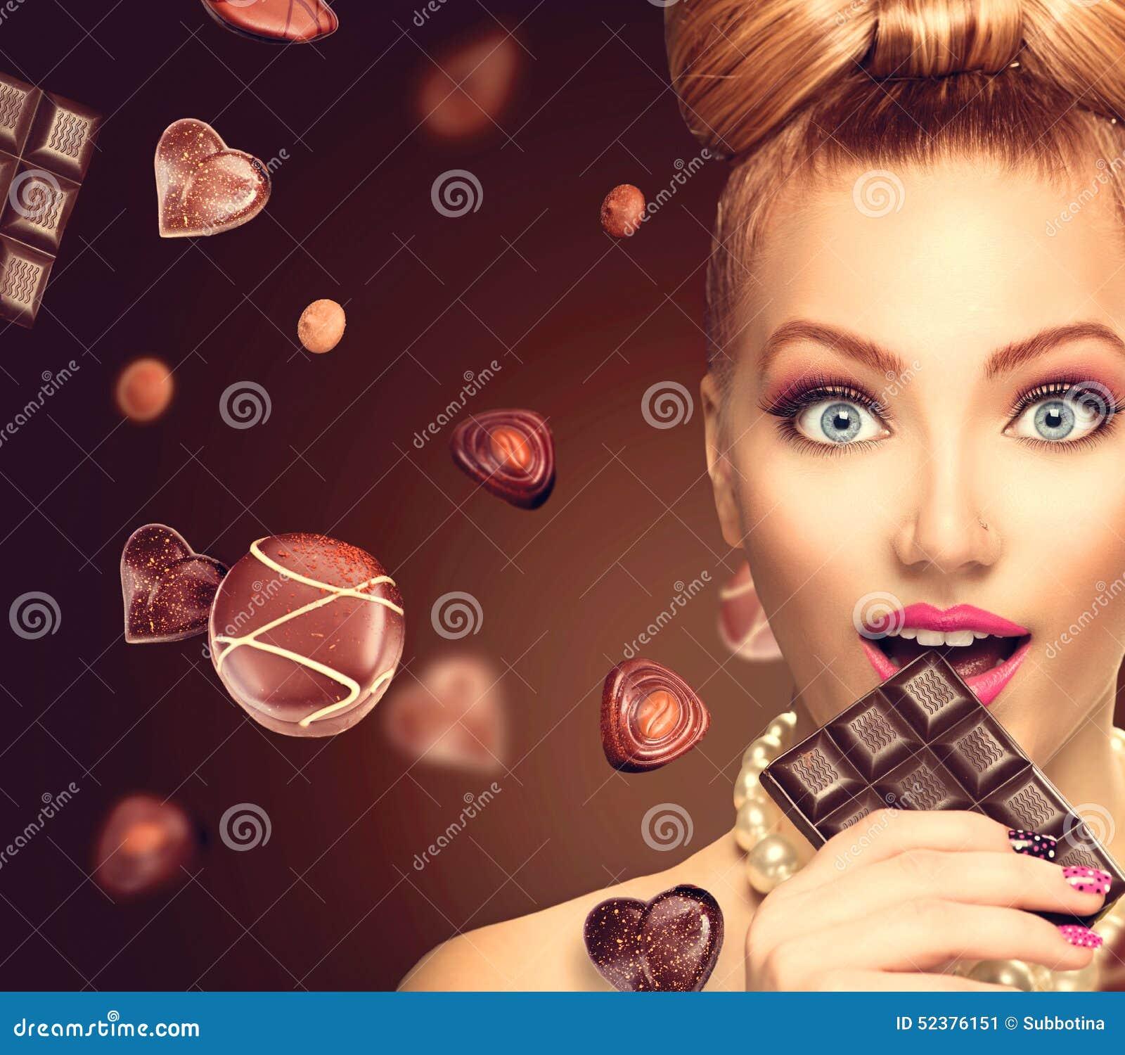Beauty Girl Eating Chocolate Stock Photo - Image: 52376151