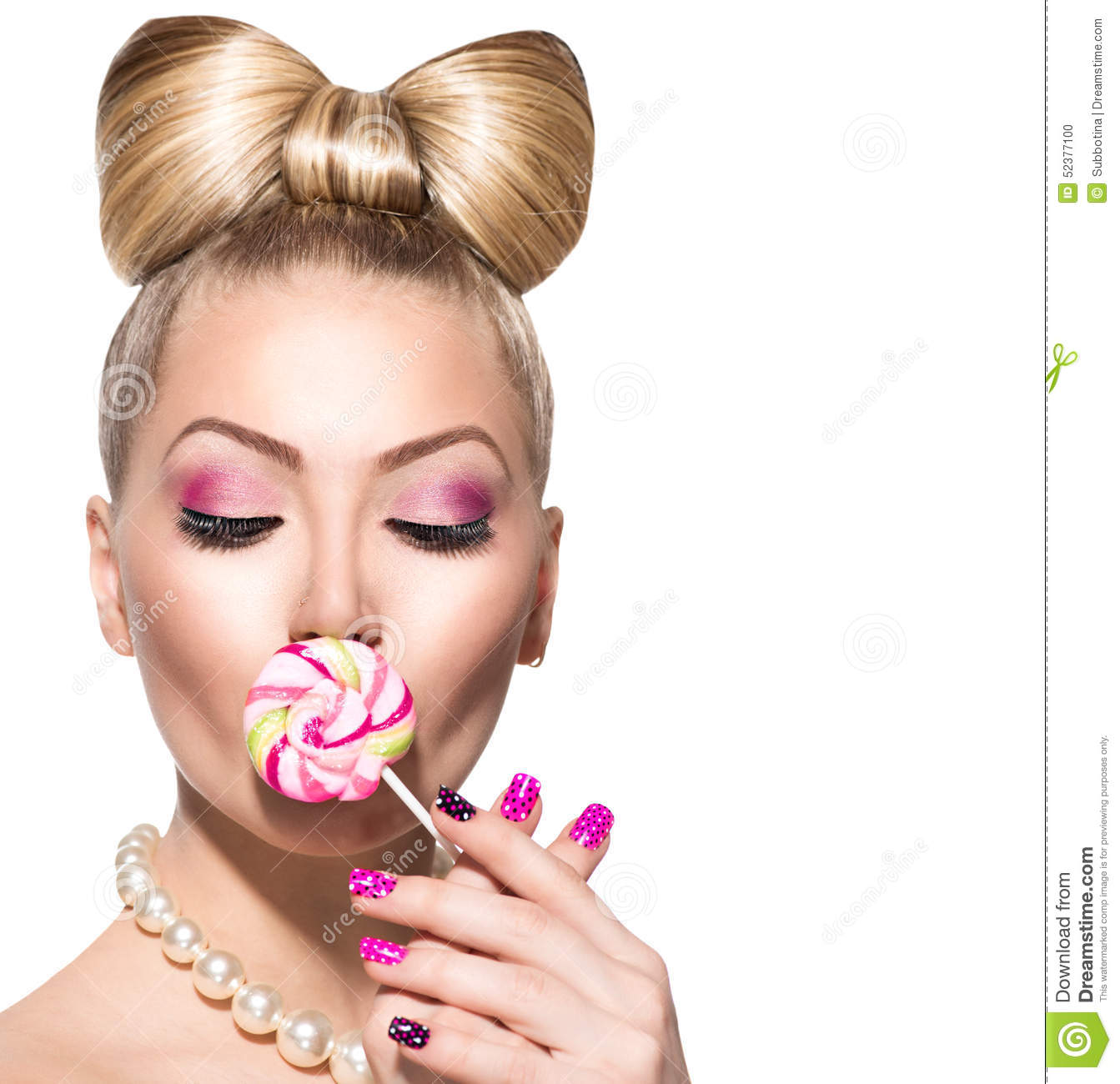 Beauty Girl Eating Colourful Lollipop Stock Photo