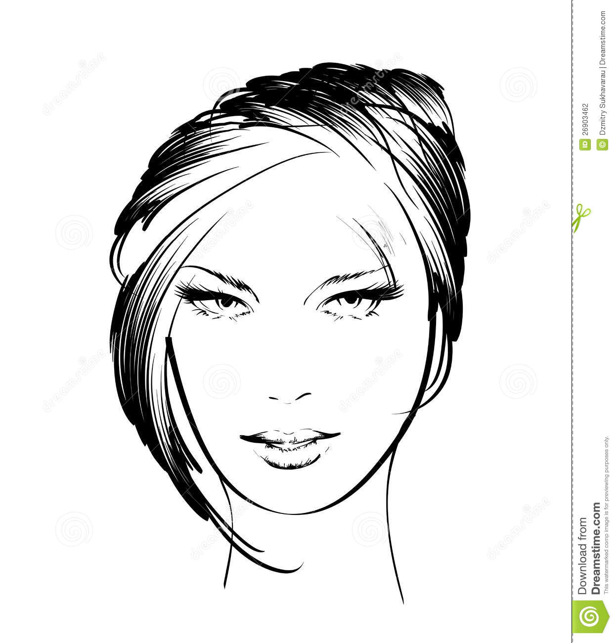 Sketch beauty girl face on a white background