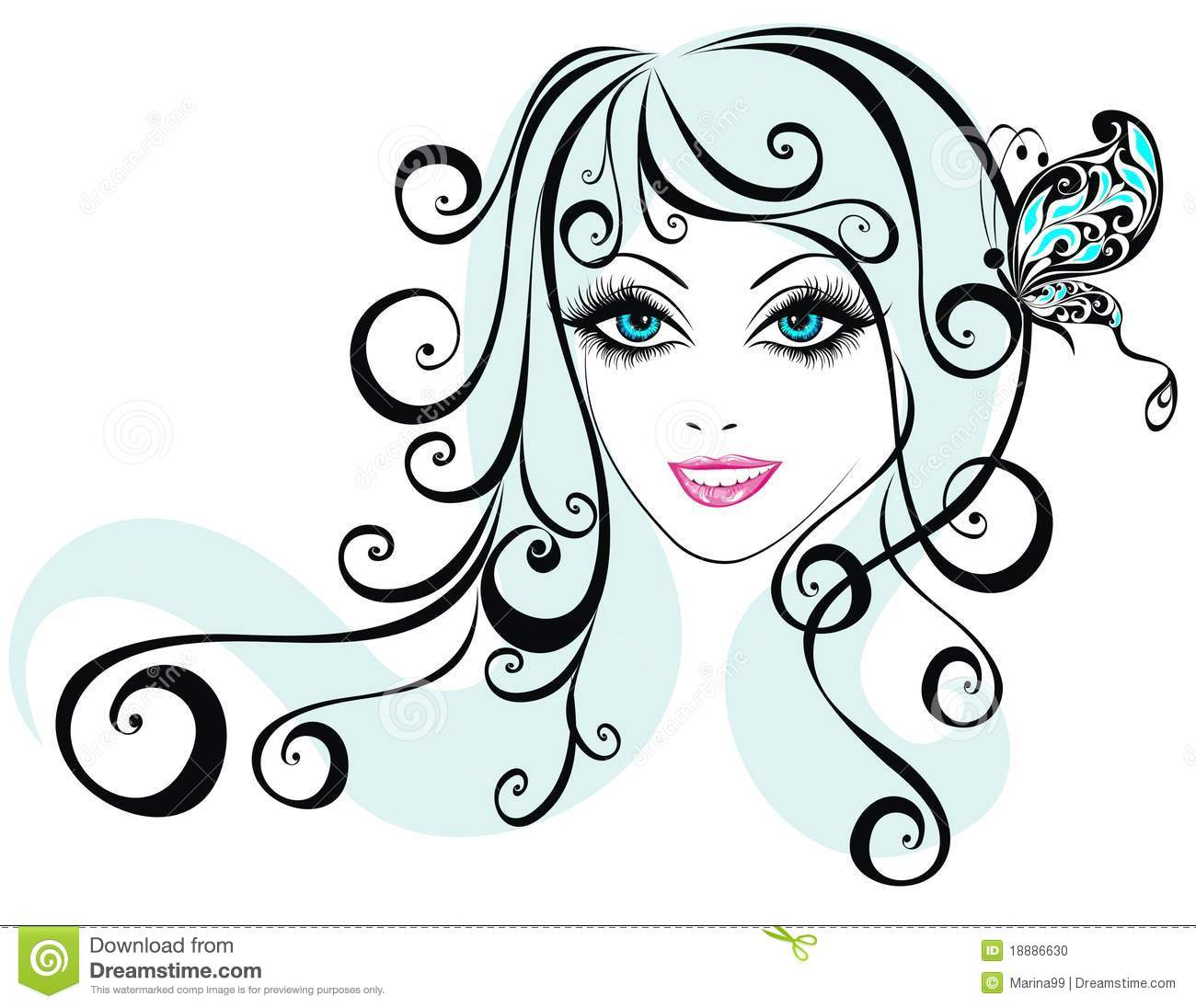 Beauty Girl Face With Butterfly Vector