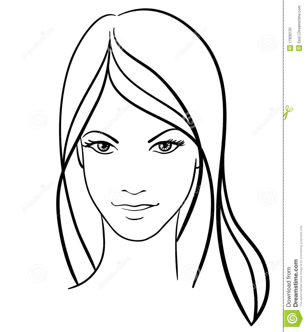 Simple Line Drawing Of A Face : Beauty girl face icon stock vector illustration of