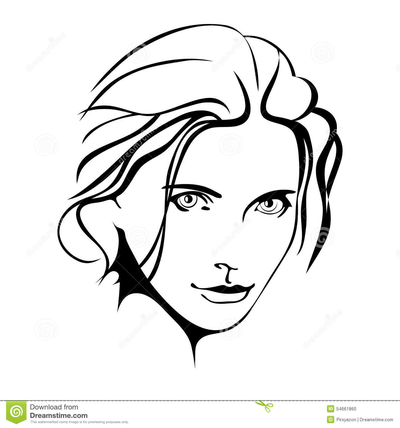 Line Drawing Face Woman : Beauty girl fashion beautiful woman face ink stock