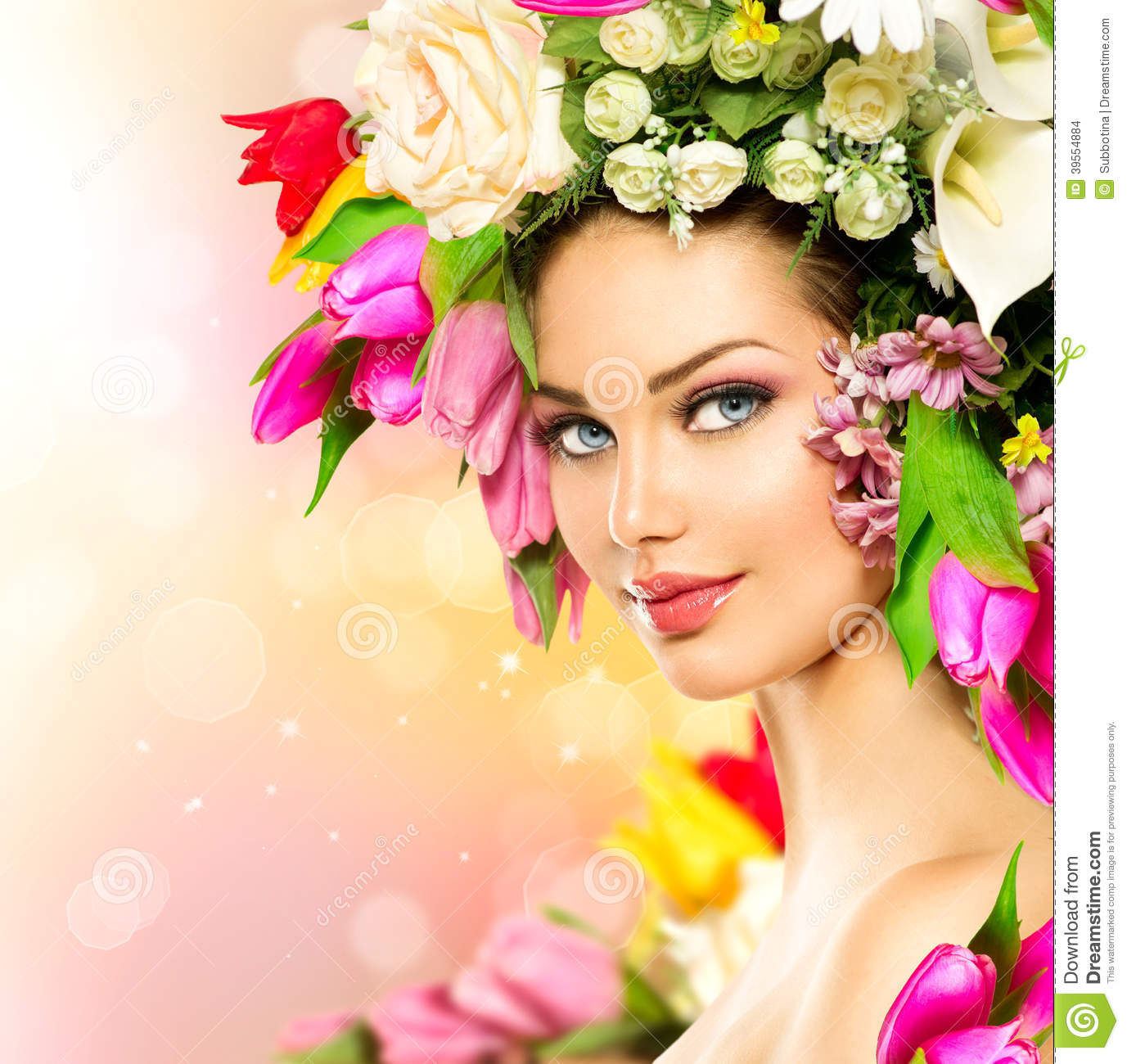 Beauty Girl With Flowers Hairstyle Stock Photo Image Of Girl