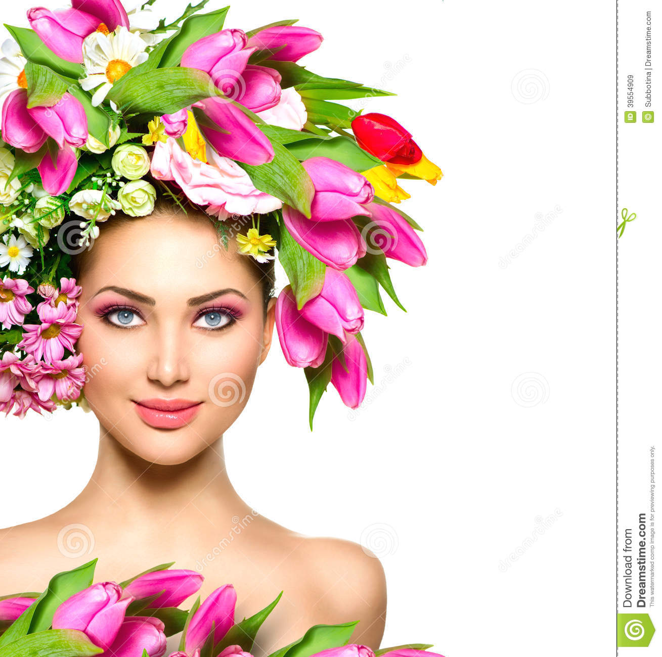 Beauty Girl With Flowers Hairstyle Stock Image Image Of Make