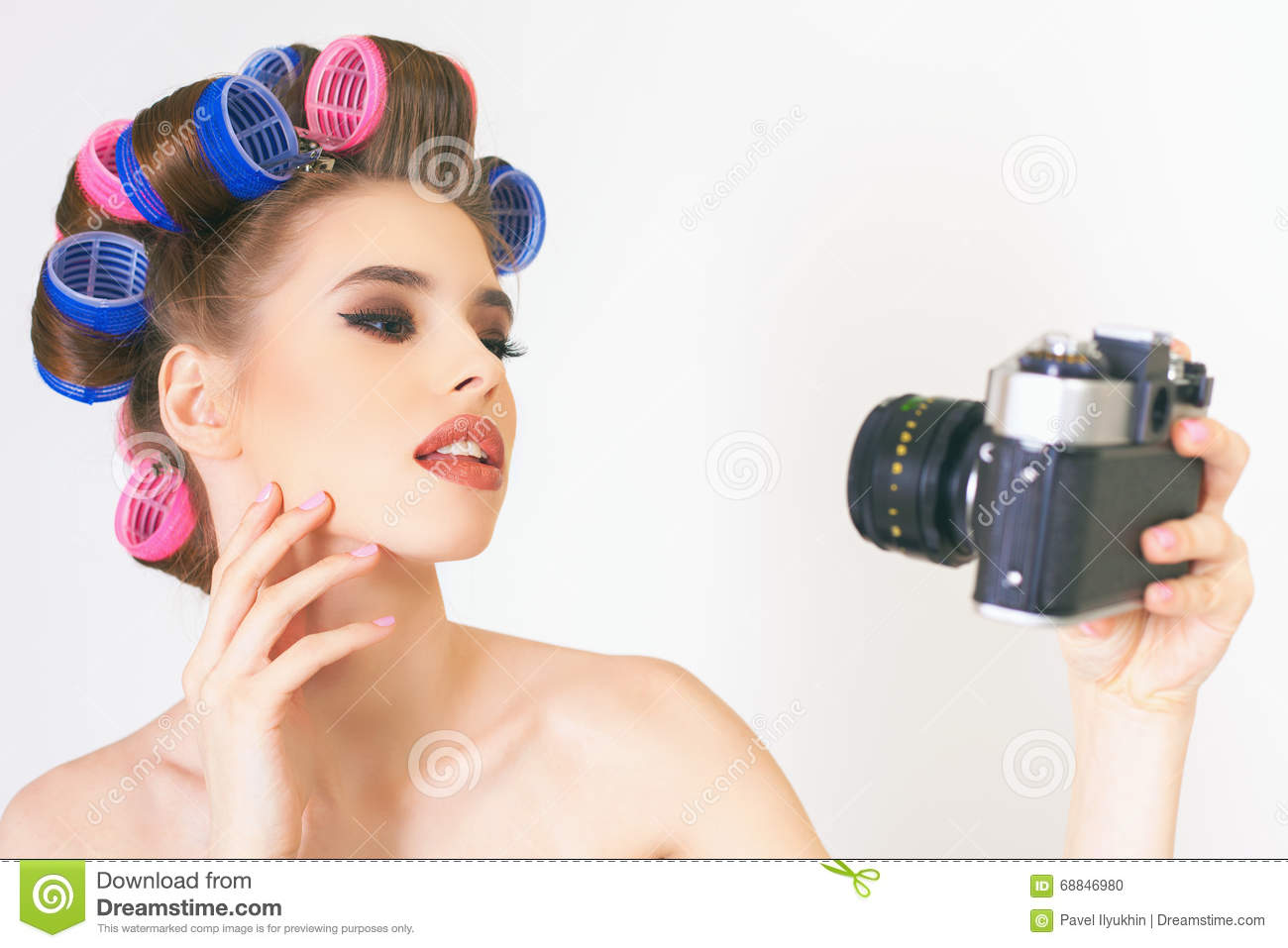 Beauty Girl Make A Foto Selfie At Vintage Camera  Stock